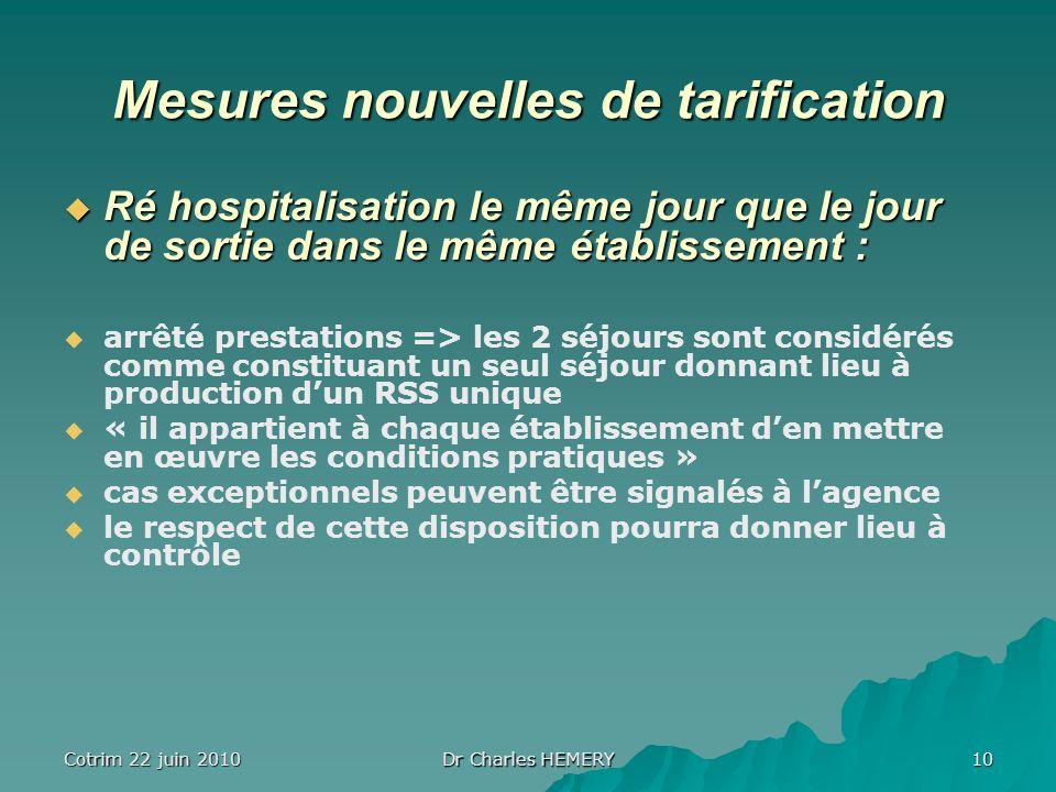 Cotrim 22 juin 2010 Dr Charles HEMERY 10 Mesures nouvelles de tarification Ré hospitalisation le même jour que le jour de sortie dans le même établiss
