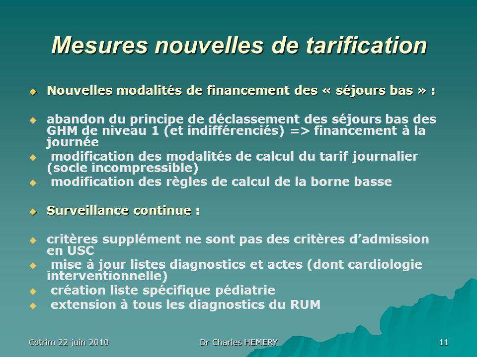 Cotrim 22 juin 2010 Dr Charles HEMERY 11 Mesures nouvelles de tarification Nouvelles modalités de financement des « séjours bas » : Nouvelles modalité