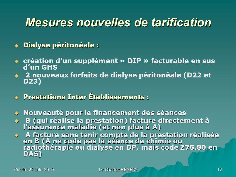 Cotrim 22 juin 2010 Dr Charles HEMERY 12 Mesures nouvelles de tarification Dialyse péritonéale : Dialyse péritonéale : création dun supplément « DIP »