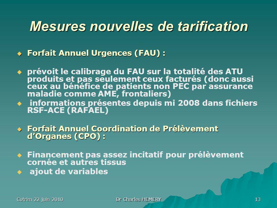 Cotrim 22 juin 2010 Dr Charles HEMERY 13 Mesures nouvelles de tarification Forfait Annuel Urgences (FAU) : Forfait Annuel Urgences (FAU) : prévoit le calibrage du FAU sur la totalité des ATU produits et pas seulement ceux facturés (donc aussi ceux au bénéfice de patients non PEC par assurance maladie comme AME, frontaliers) informations présentes depuis mi 2008 dans fichiers RSF-ACE (RAFAEL) Forfait Annuel Coordination de Prélèvement dOrganes (CPO) : Forfait Annuel Coordination de Prélèvement dOrganes (CPO) : Financement pas assez incitatif pour prélèvement cornée et autres tissus ajout de variables