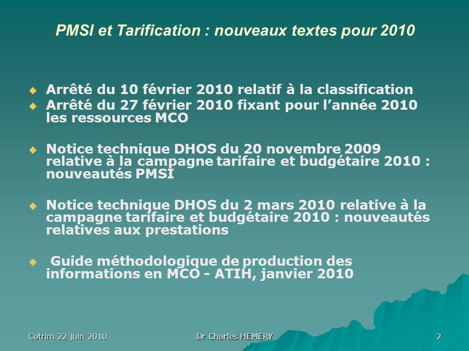 Cotrim 22 juin 2010 Dr Charles HEMERY 2 PMSI et Tarification : nouveaux textes pour 2010 Arrêté du 10 février 2010 relatif à la classification Arrêté