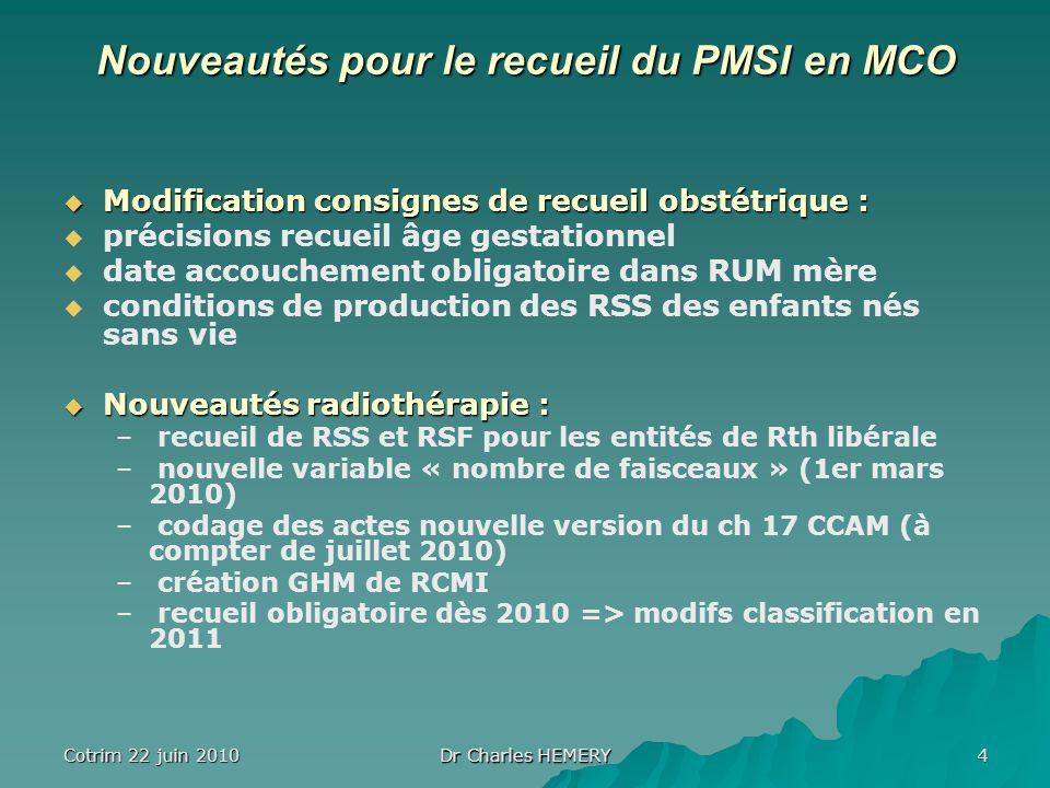 Cotrim 22 juin 2010 Dr Charles HEMERY 4 Nouveautés pour le recueil du PMSI en MCO Modification consignes de recueil obstétrique : Modification consign