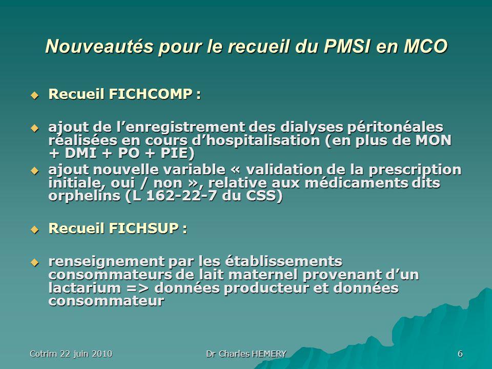 Cotrim 22 juin 2010 Dr Charles HEMERY 6 Nouveautés pour le recueil du PMSI en MCO Recueil FICHCOMP : Recueil FICHCOMP : ajout de lenregistrement des dialyses péritonéales réalisées en cours dhospitalisation (en plus de MON + DMI + PO + PIE) ajout de lenregistrement des dialyses péritonéales réalisées en cours dhospitalisation (en plus de MON + DMI + PO + PIE) ajout nouvelle variable « validation de la prescription initiale, oui / non », relative aux médicaments dits orphelins (L 162-22-7 du CSS) ajout nouvelle variable « validation de la prescription initiale, oui / non », relative aux médicaments dits orphelins (L 162-22-7 du CSS) Recueil FICHSUP : Recueil FICHSUP : renseignement par les établissements consommateurs de lait maternel provenant dun lactarium => données producteur et données consommateur renseignement par les établissements consommateurs de lait maternel provenant dun lactarium => données producteur et données consommateur