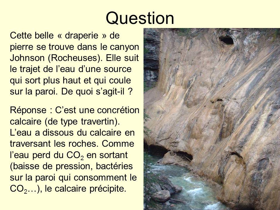 Question Cette belle « draperie » de pierre se trouve dans le canyon Johnson (Rocheuses). Elle suit le trajet de leau dune source qui sort plus haut e
