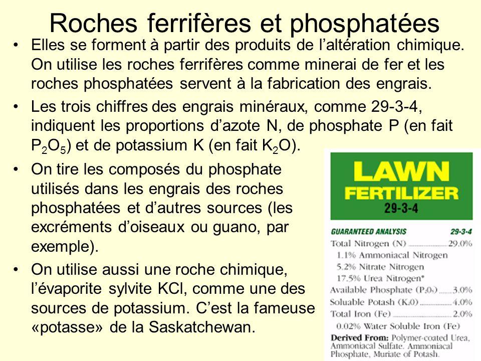 Roches ferrifères et phosphatées On tire les composés du phosphate utilisés dans les engrais des roches phosphatées et dautres sources (les excréments