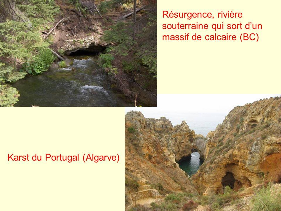 Karst du Portugal (Algarve) Résurgence, rivière souterraine qui sort dun massif de calcaire (BC)