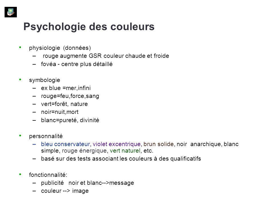 Psychologie des couleurs physiologie (données) – rouge augmente GSR couleur chaude et froide –fovéa - centre plus détaillé symbologie –ex blue =mer,in