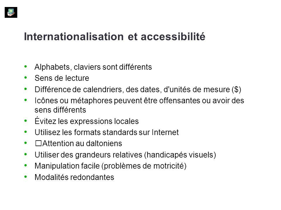 Internationalisation et accessibilité Alphabets, claviers sont différents Sens de lecture Différence de calendriers, des dates, d'unités de mesure ($)