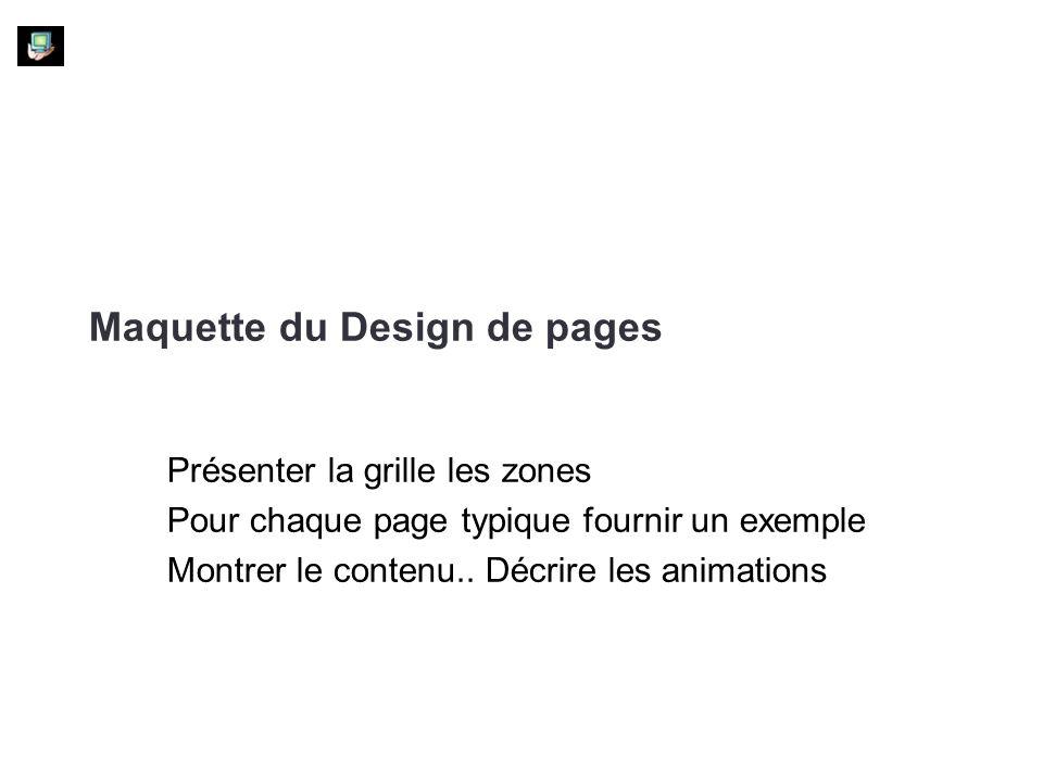 Maquette du Design de pages Présenter la grille les zones Pour chaque page typique fournir un exemple Montrer le contenu.. Décrire les animations