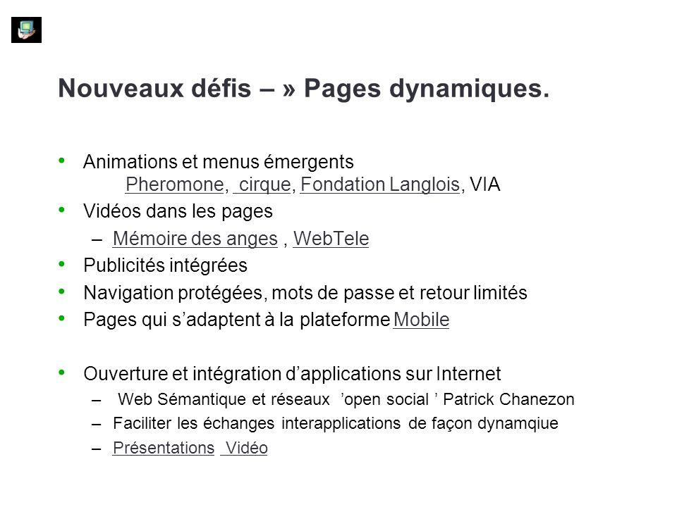 Nouveaux défis – » Pages dynamiques. Animations et menus émergents Pheromone, cirque, Fondation Langlois, VIA Pheromone cirqueFondation Langlois Vidéo