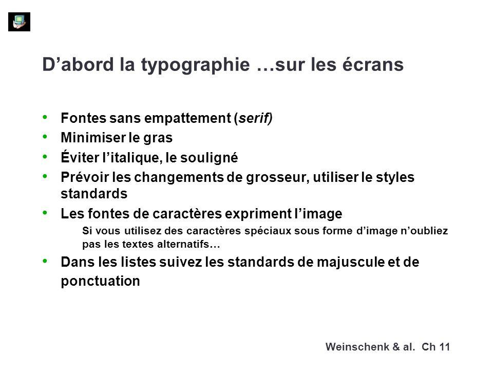 Dabord la typographie …sur les écrans Fontes sans empattement (serif) Minimiser le gras Éviter litalique, le souligné Prévoir les changements de gross