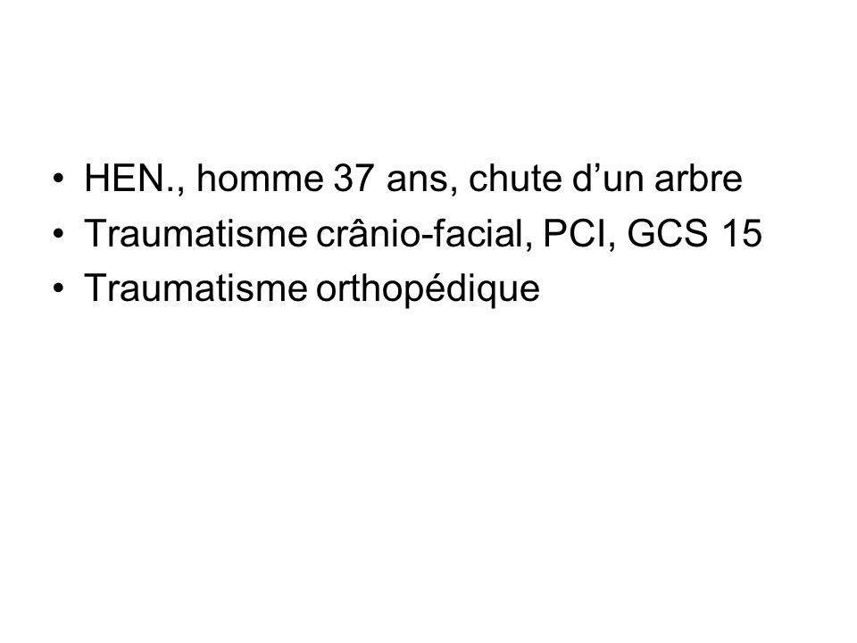 HEN., homme 37 ans, chute dun arbre Traumatisme crânio-facial, PCI, GCS 15 Traumatisme orthopédique