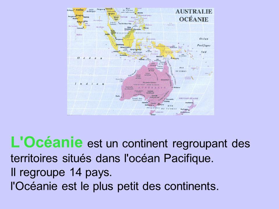 L'Océanie est un continent regroupant des territoires situés dans l'océan Pacifique. Il regroupe 14 pays. l'Océanie est le plus petit des continents.