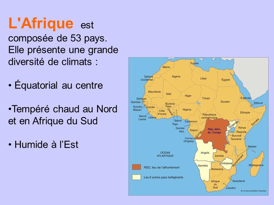 L'Afrique est composée de 53 pays. Elle présente une grande diversité de climats : Équatorial au centre Tempéré chaud au Nord et en Afrique du Sud Hum