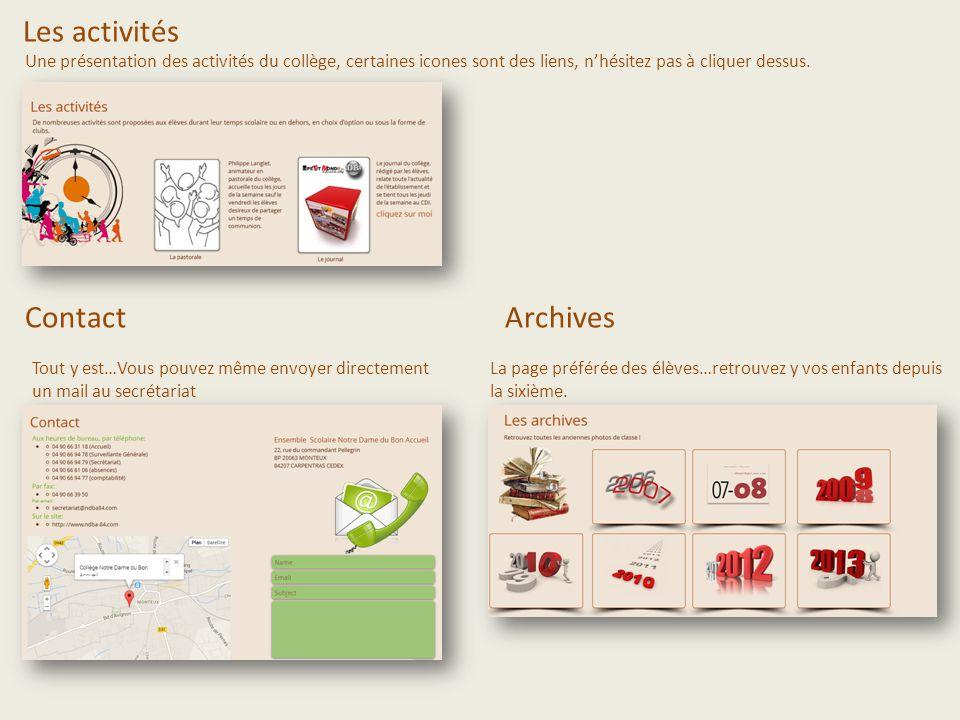 Les activités Une présentation des activités du collège, certaines icones sont des liens, nhésitez pas à cliquer dessus. Contact Tout y est…Vous pouve
