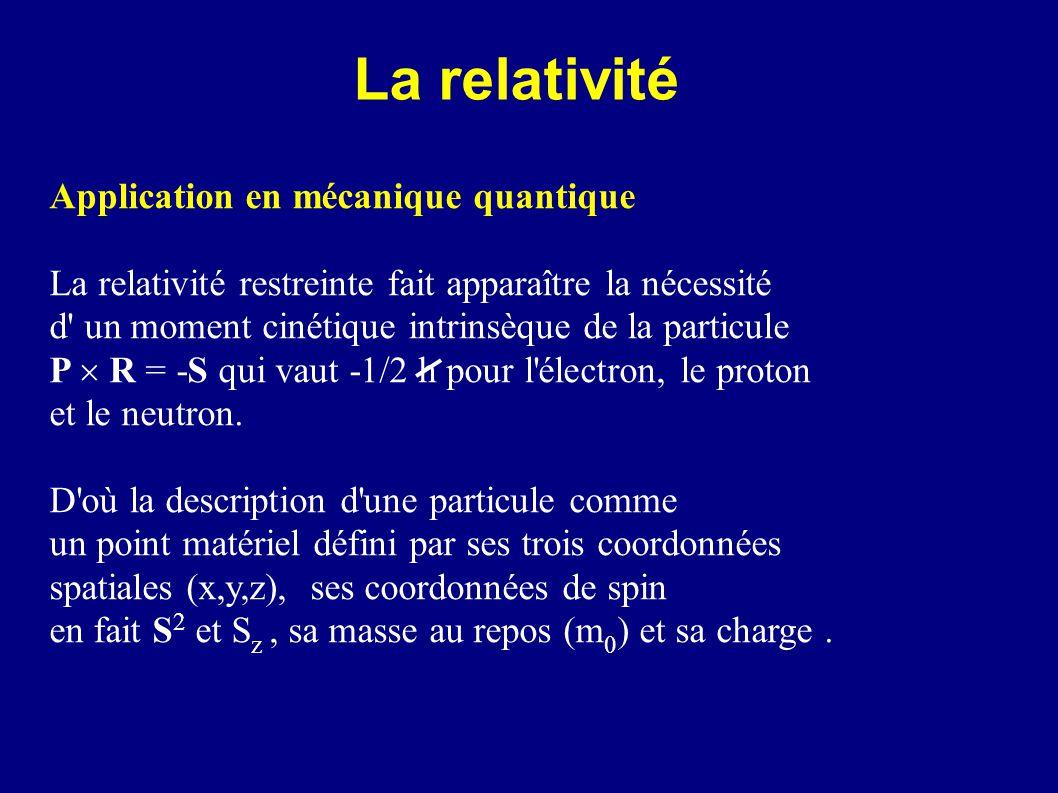 La relativité Application en mécanique quantique La relativité restreinte fait apparaître la nécessité d' un moment cinétique intrinsèque de la partic