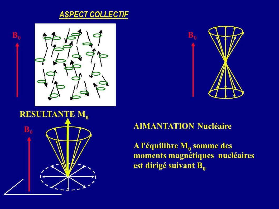 ASPECT COLLECTIF B0B0 B0B0 RESULTANTE M 0 B0B0 AIMANTATION Nucléaire A l'équilibre M 0 somme des moments magnétiques nucléaires est dirigé suivant B 0