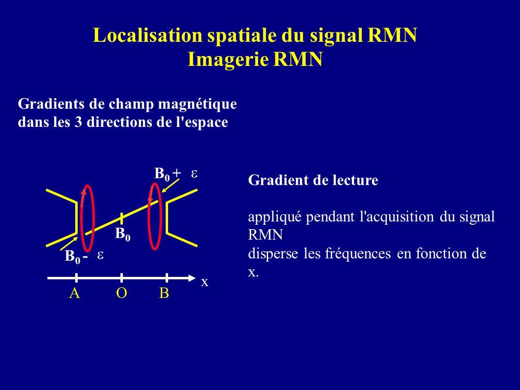 Gradients de champ magnétique dans les 3 directions de l'espace Localisation spatiale du signal RMN Imagerie RMN Gradient de lecture appliqué pendant