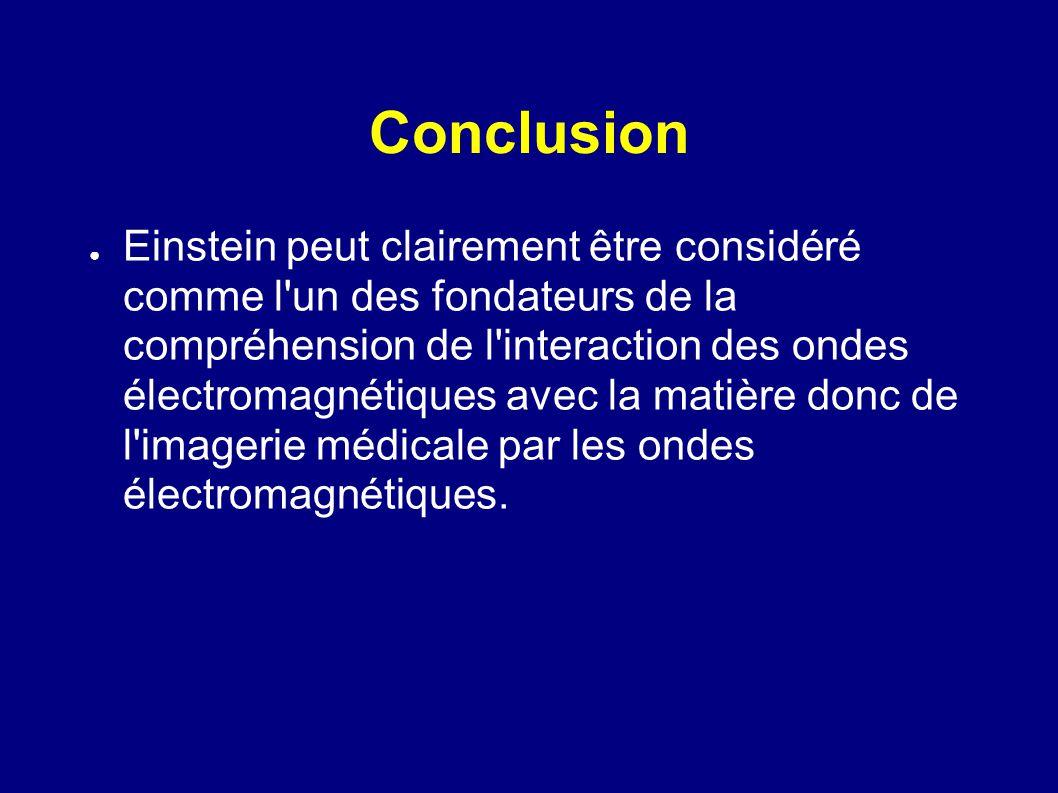 Conclusion Einstein peut clairement être considéré comme l'un des fondateurs de la compréhension de l'interaction des ondes électromagnétiques avec la