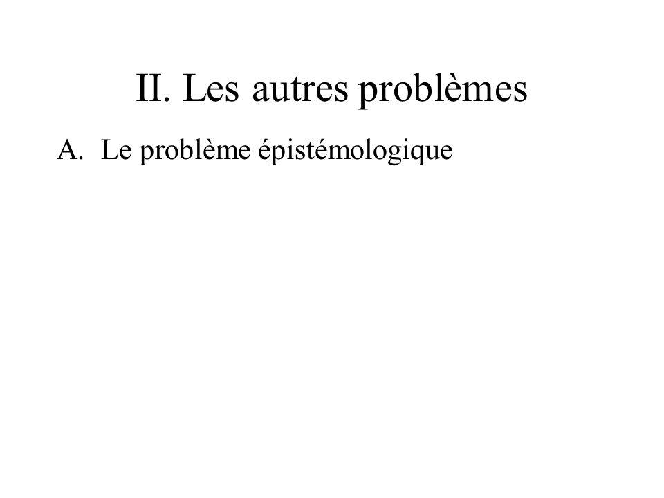 II. Les autres problèmes A.Le problème épistémologique