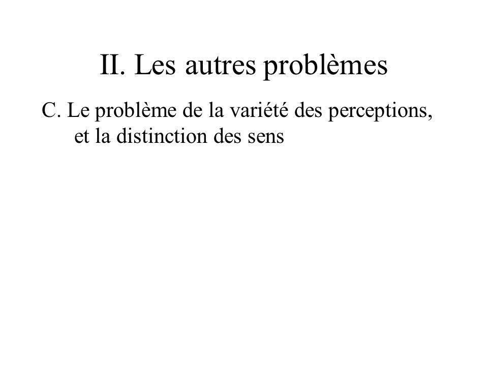 II. Les autres problèmes C. Le problème de la variété des perceptions, et la distinction des sens