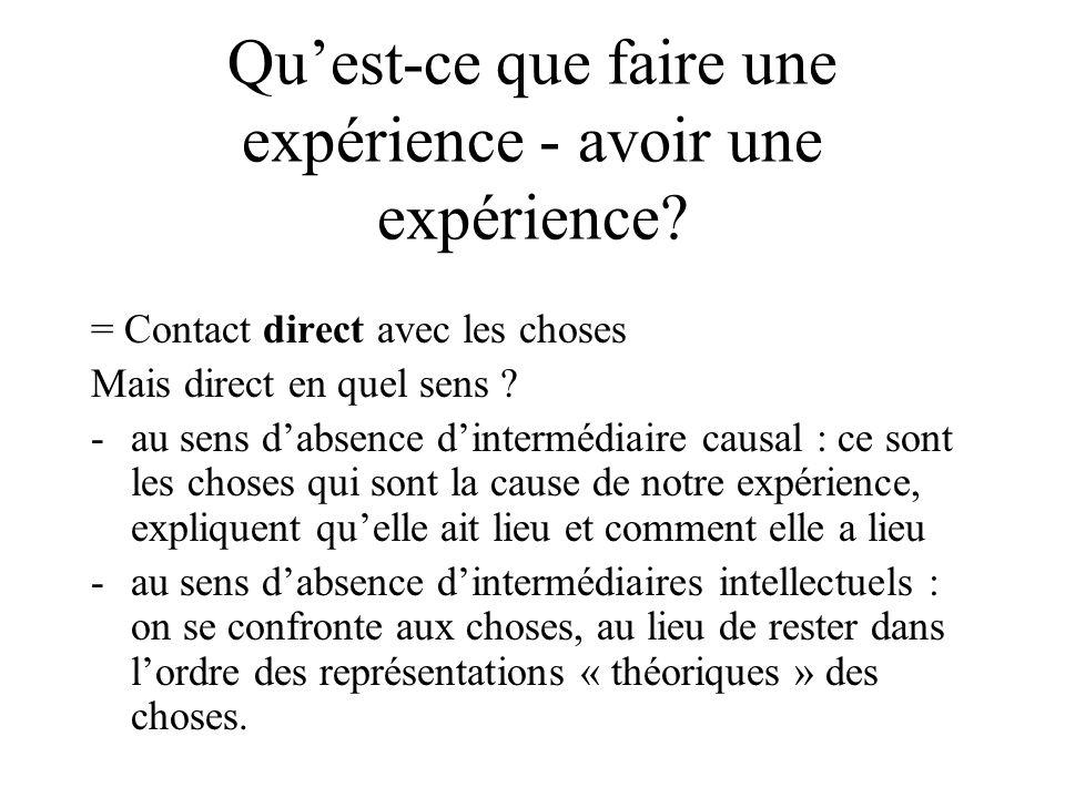 Quest-ce que faire une expérience - avoir une expérience? = Contact direct avec les choses Mais direct en quel sens ? -au sens dabsence dintermédiaire