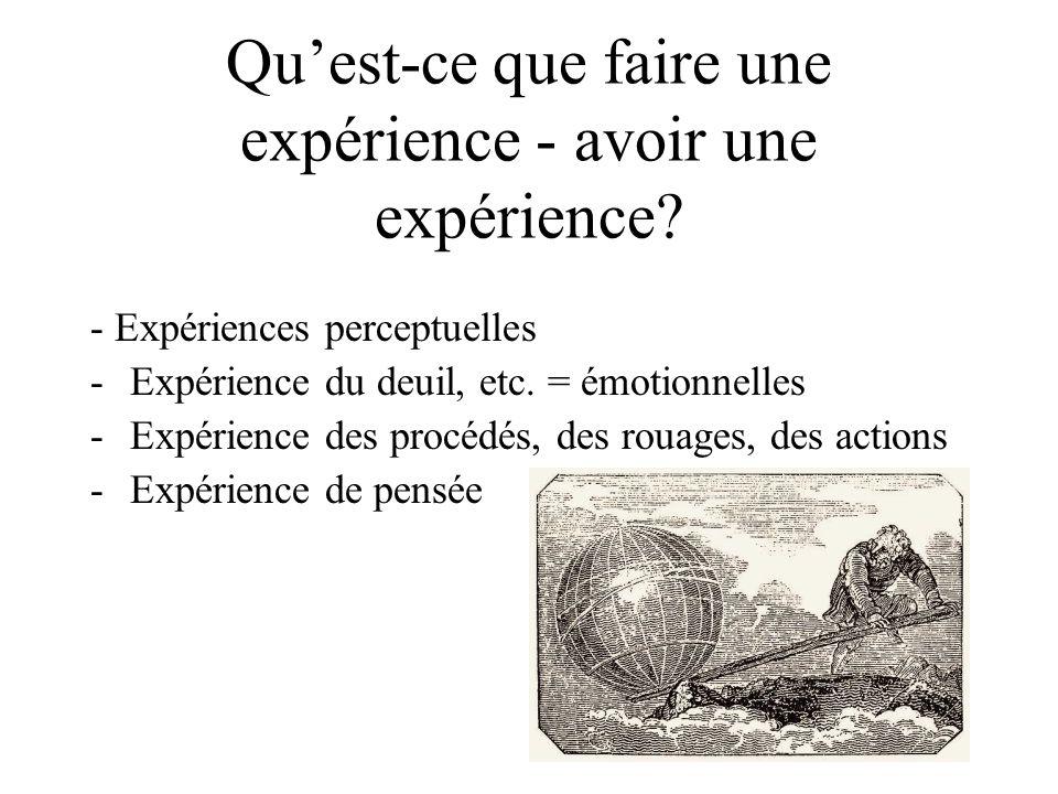 Quest-ce que faire une expérience - avoir une expérience? - Expériences perceptuelles -Expérience du deuil, etc. = émotionnelles -Expérience des procé