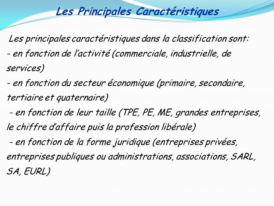 Les Principales Caractéristiques Les principales caractéristiques dans la classification sont: - en fonction de lactivité (commerciale, industrielle,