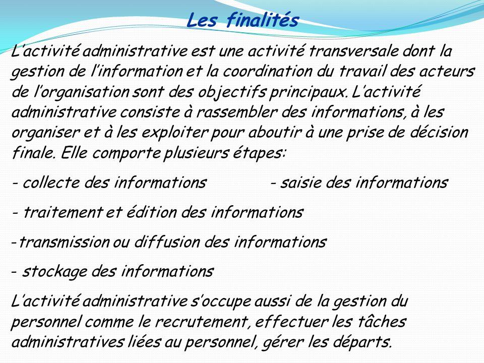 Les finalités Lactivité administrative est une activité transversale dont la gestion de linformation et la coordination du travail des acteurs de lorg