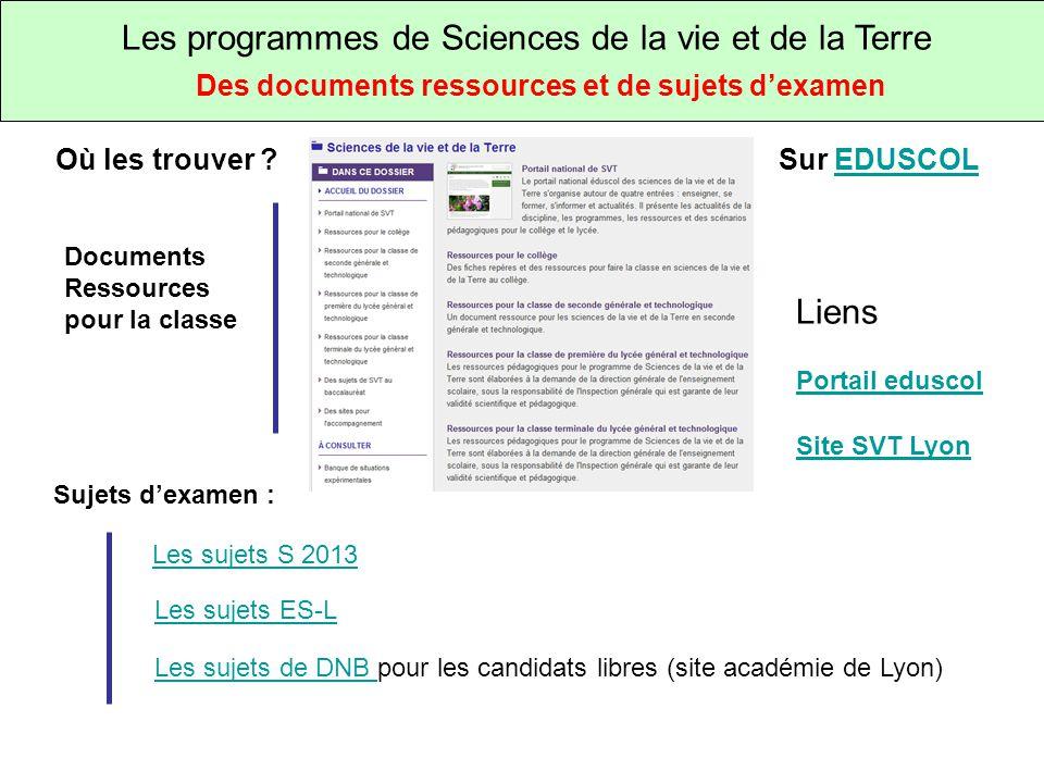 Les programmes de Sciences de la vie et de la Terre Des documents ressources et de sujets dexamen Où les trouver .