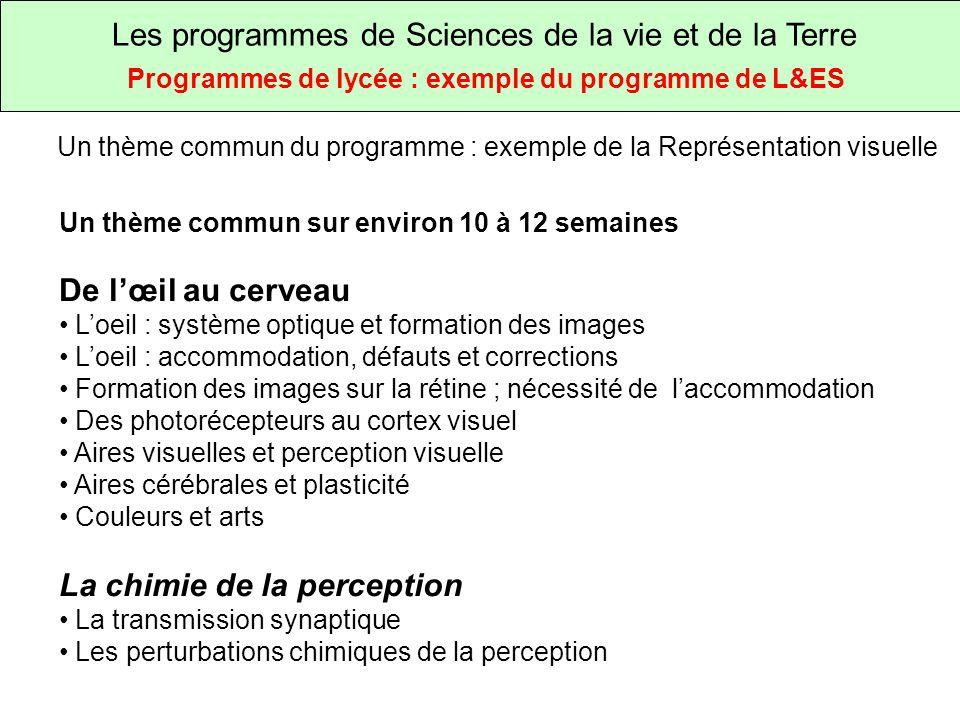 Les programmes de Sciences de la vie et de la Terre Programmes de lycée : exemple du programme de L&ES Un thème commun du programme : exemple de la Représentation visuelle Comment l œil produit une image du monde qui nous entoure Comment la rétine permet dobtenir une image précise Comment les couleurs sont obtenues dans la vision humaine Comment la vision des couleurs sest construite chez les primates Comment les couleurs sont obtenues Comment le cerveau permet la perception de l image Comment la perception visuelle est transmise et perturbée par les drogues SPC SVT SVT SPC SVT SPC SVT Les problèmes scientifiques qui sont posés par les contenus du programme Les ressources pour la classe fournissent des exemples très détaillés de situations clef en main précisant les acquis, la motivation possible, les consignes données aux élèves, les documents ou données à utiliser et les productions attendues (Des propositions de tâches complexes).