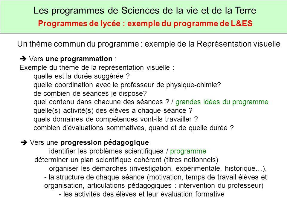 Les programmes de Sciences de la vie et de la Terre Programmes de lycée : exemple du programme de L&ES Un thème commun du programme : exemple de la Représentation visuelle Vers une programmation : Exemple du thème de la représentation visuelle : quelle est la durée suggérée .
