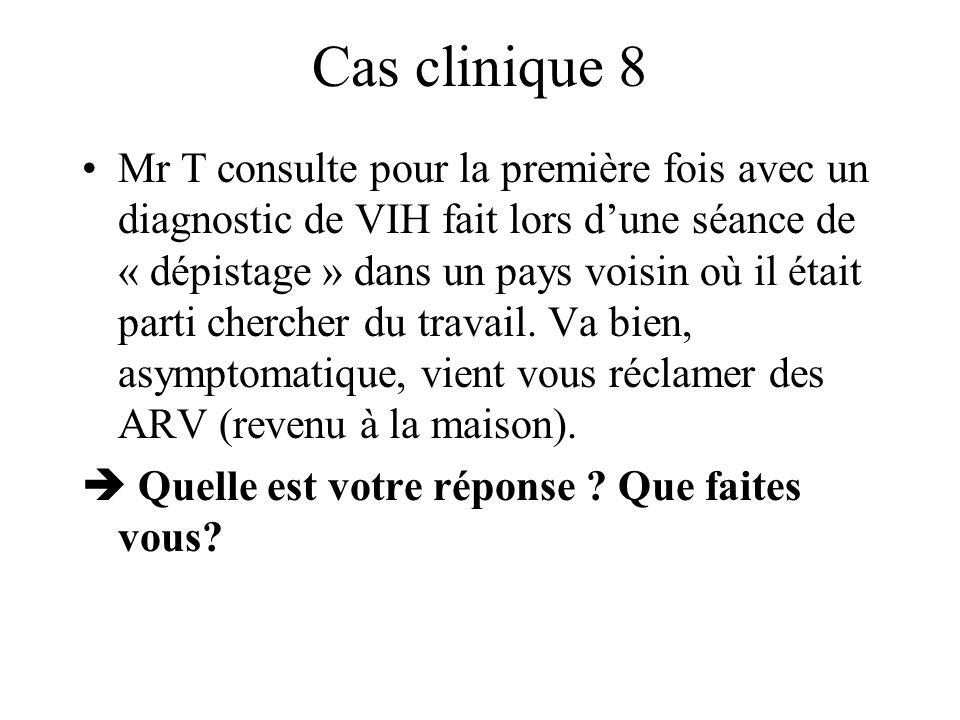 Cas clinique 8 Mr T consulte pour la première fois avec un diagnostic de VIH fait lors dune séance de « dépistage » dans un pays voisin où il était pa