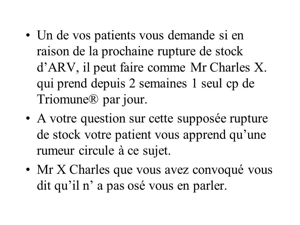 Un de vos patients vous demande si en raison de la prochaine rupture de stock dARV, il peut faire comme Mr Charles X. qui prend depuis 2 semaines 1 se