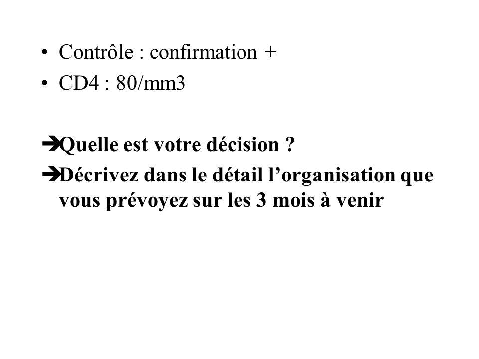 Contrôle : confirmation + CD4 : 80/mm3 Quelle est votre décision ? Décrivez dans le détail lorganisation que vous prévoyez sur les 3 mois à venir