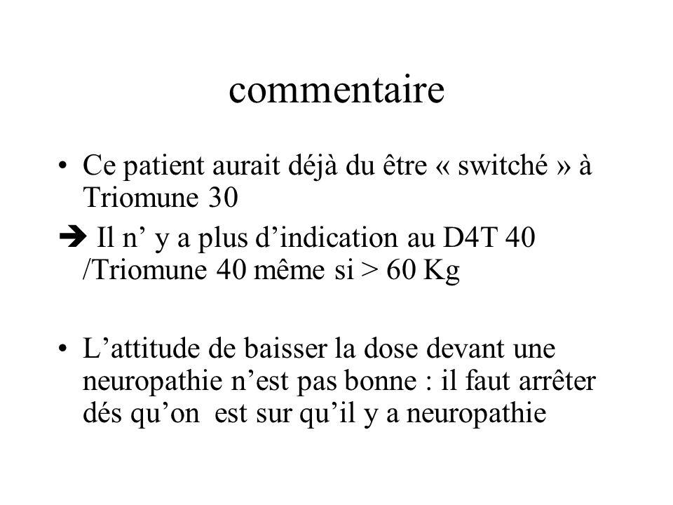 commentaire Ce patient aurait déjà du être « switché » à Triomune 30 Il n y a plus dindication au D4T 40 /Triomune 40 même si > 60 Kg Lattitude de bai