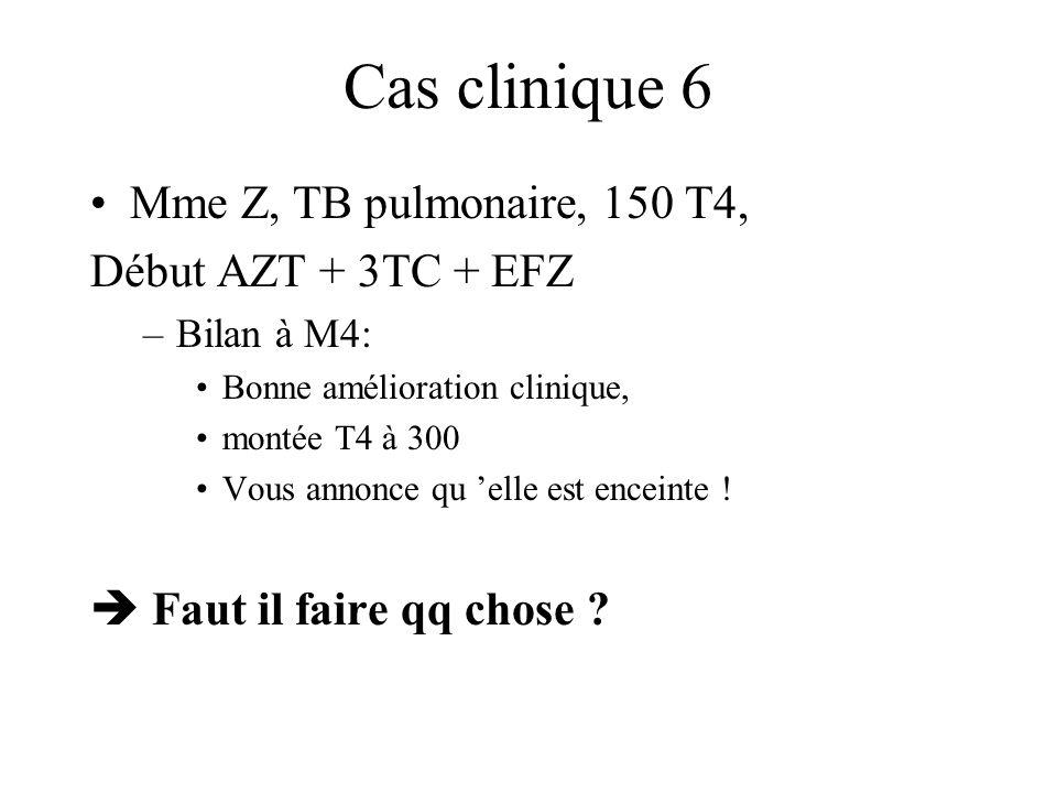 Cas clinique 6 Mme Z, TB pulmonaire, 150 T4, Début AZT + 3TC + EFZ –Bilan à M4: Bonne amélioration clinique, montée T4 à 300 Vous annonce qu elle est