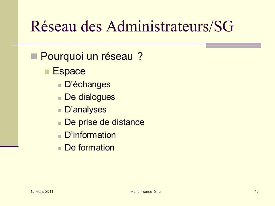 15 Mars 2011 Marie-France Sire10 Réseau des Administrateurs/SG Pourquoi un réseau .