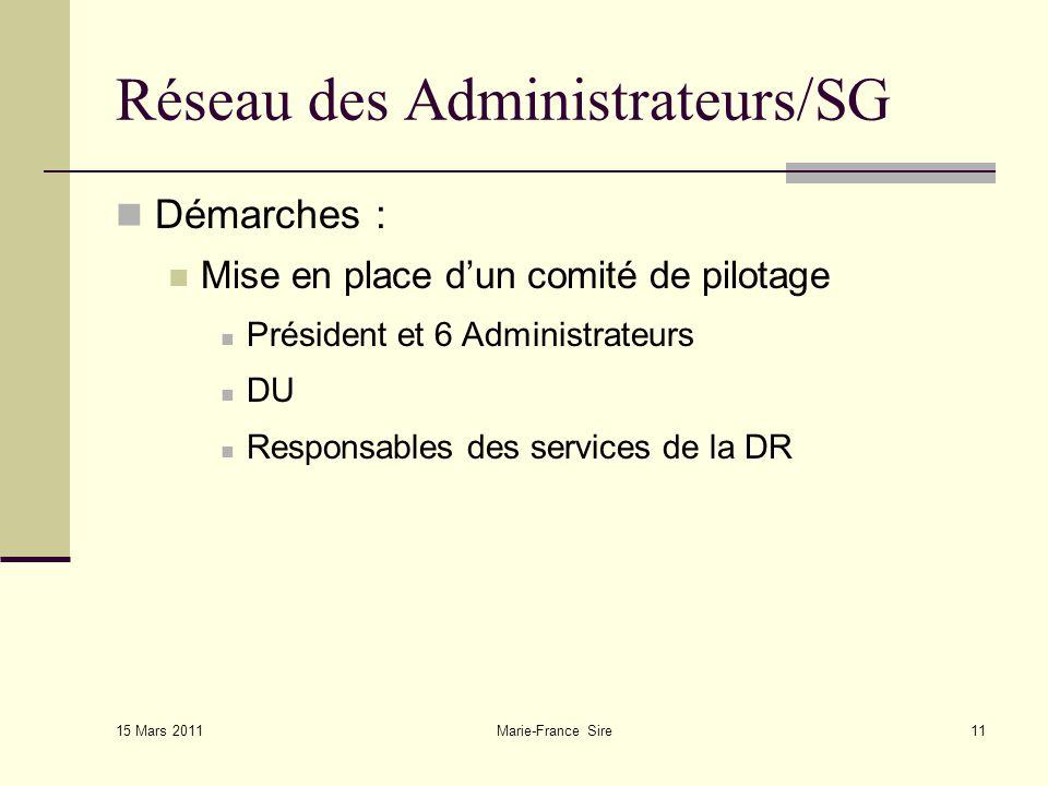 15 Mars 2011 Marie-France Sire11 Réseau des Administrateurs/SG Démarches : Mise en place dun comité de pilotage Président et 6 Administrateurs DU Responsables des services de la DR