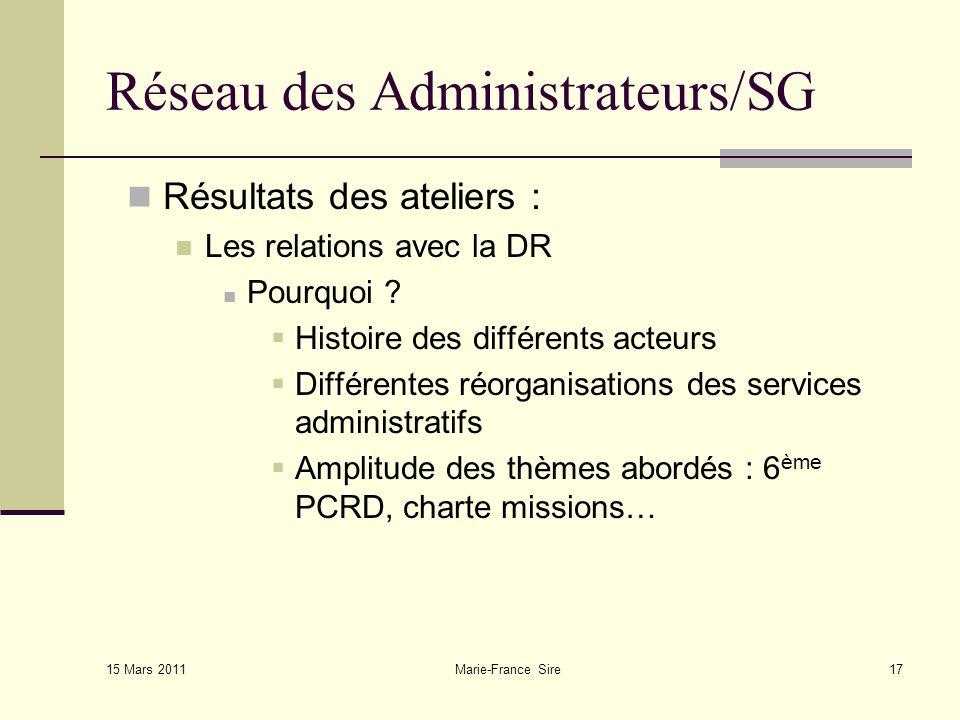15 Mars 2011 Marie-France Sire17 Réseau des Administrateurs/SG Résultats des ateliers : Les relations avec la DR Pourquoi .