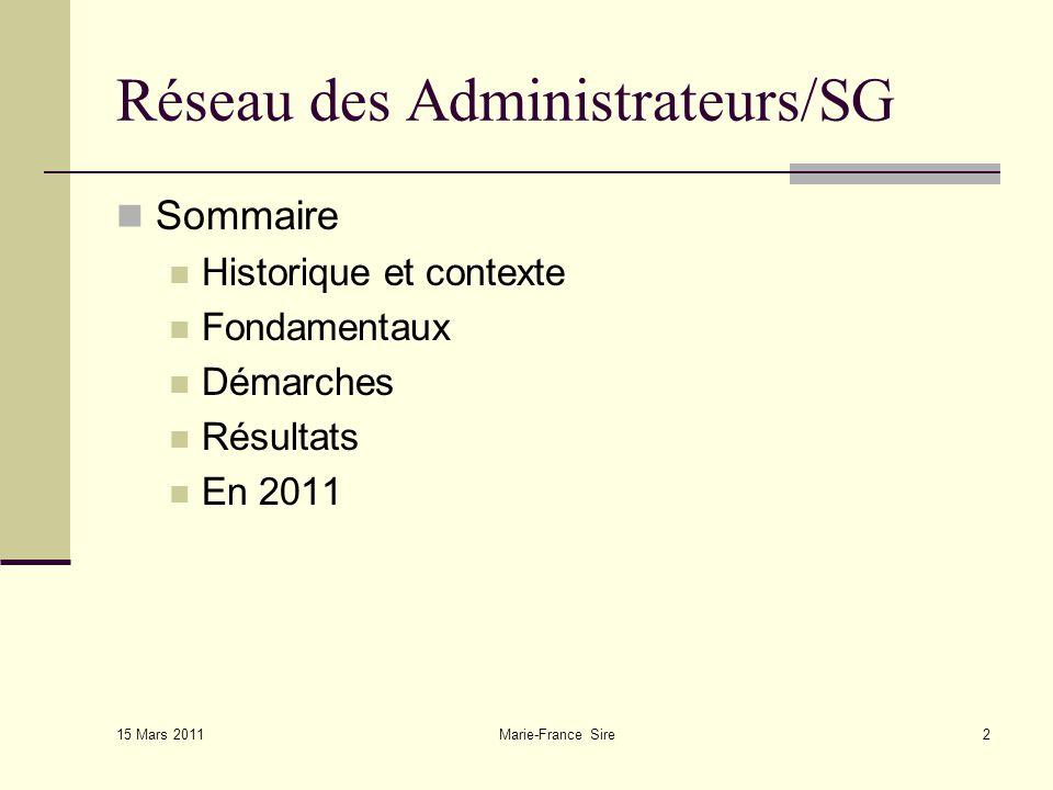 Marie-France Sire2 Réseau des Administrateurs/SG Sommaire Historique et contexte Fondamentaux Démarches Résultats En 2011