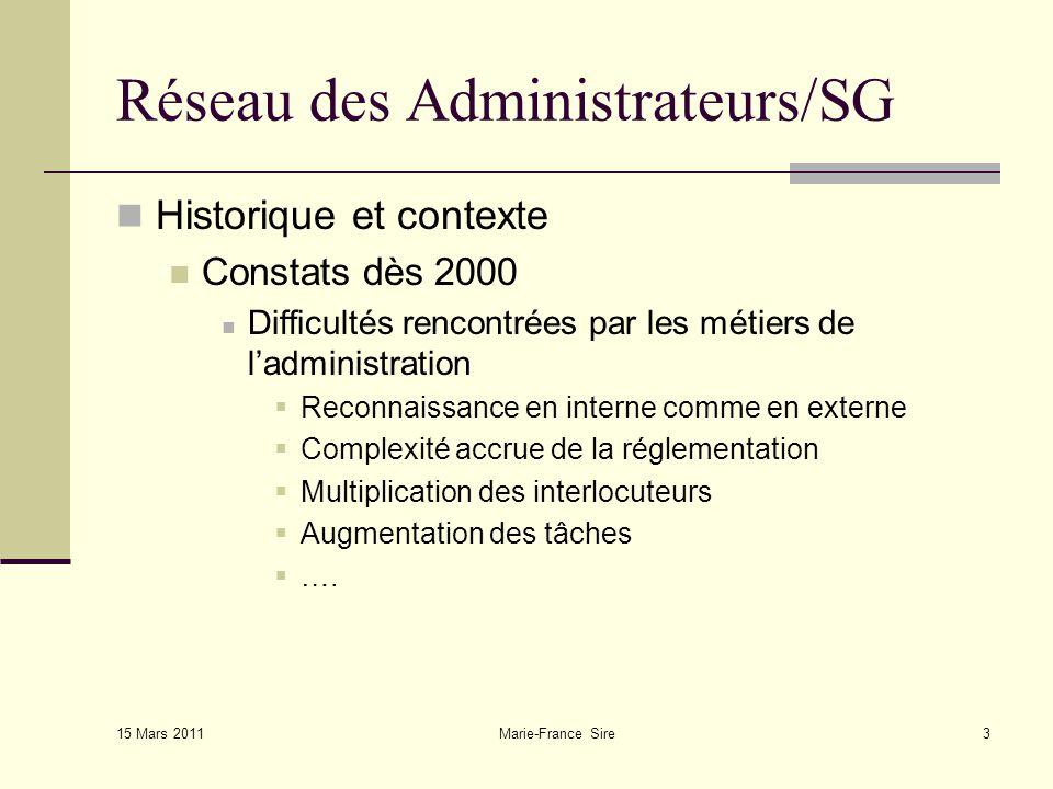 15 Mars 2011 Marie-France Sire14 Réseau des Administrateurs/SG Quel rôle .