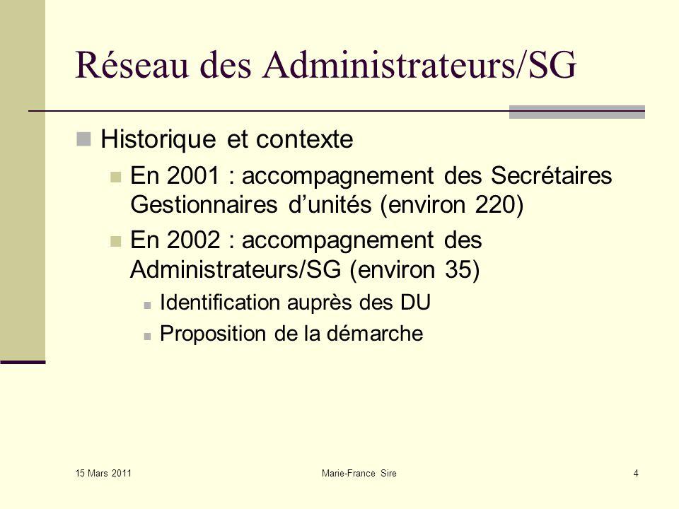 15 Mars 2011 Marie-France Sire15 Réseau des Administrateurs/SG Quelles activités .