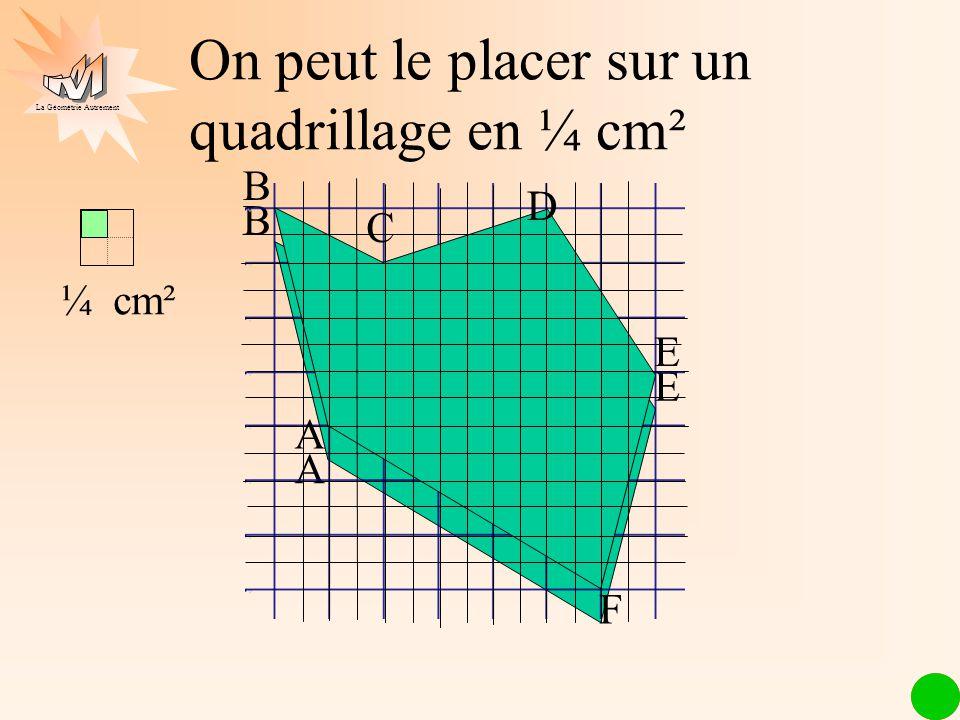 La Géométrie Autrement On peut le placer sur un quadrillage en ¼ cm² ¼ cm² A E B A E C B F D