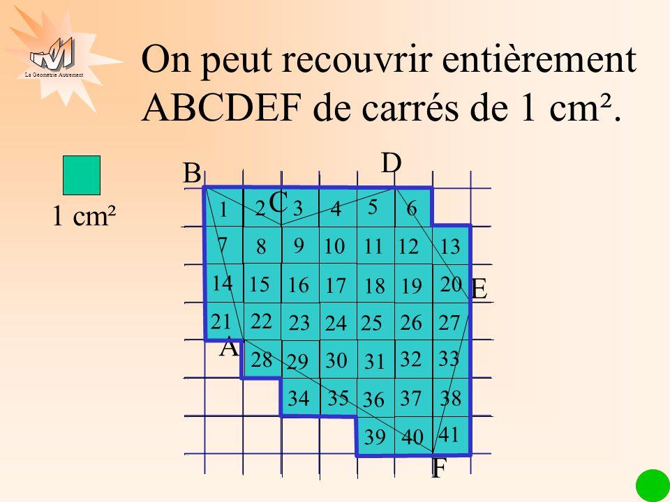 La Géométrie Autrement 1 cm² 1 2 3 4 56 78 9 1011 12 13 14 15 16 17 18 E B F 1 C D 2 3 4 5 6 7 8 9 10 11 12 13 14 15 16 17 18 19 20 21 22 23 24 25 26 27 28 29 30 31 32 33 A 34 35 36 3738 3940 41 Laire de ABCDEF est inférieure à 41 cm².