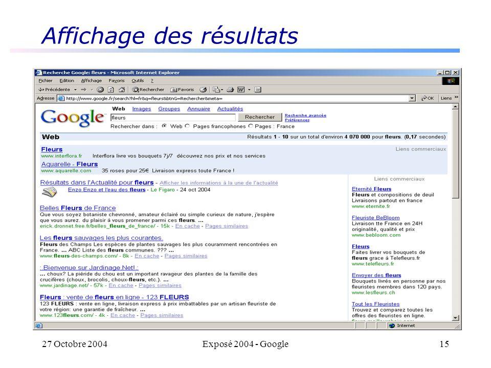 27 Octobre 2004Exposé 2004 - Google15 Affichage des résultats