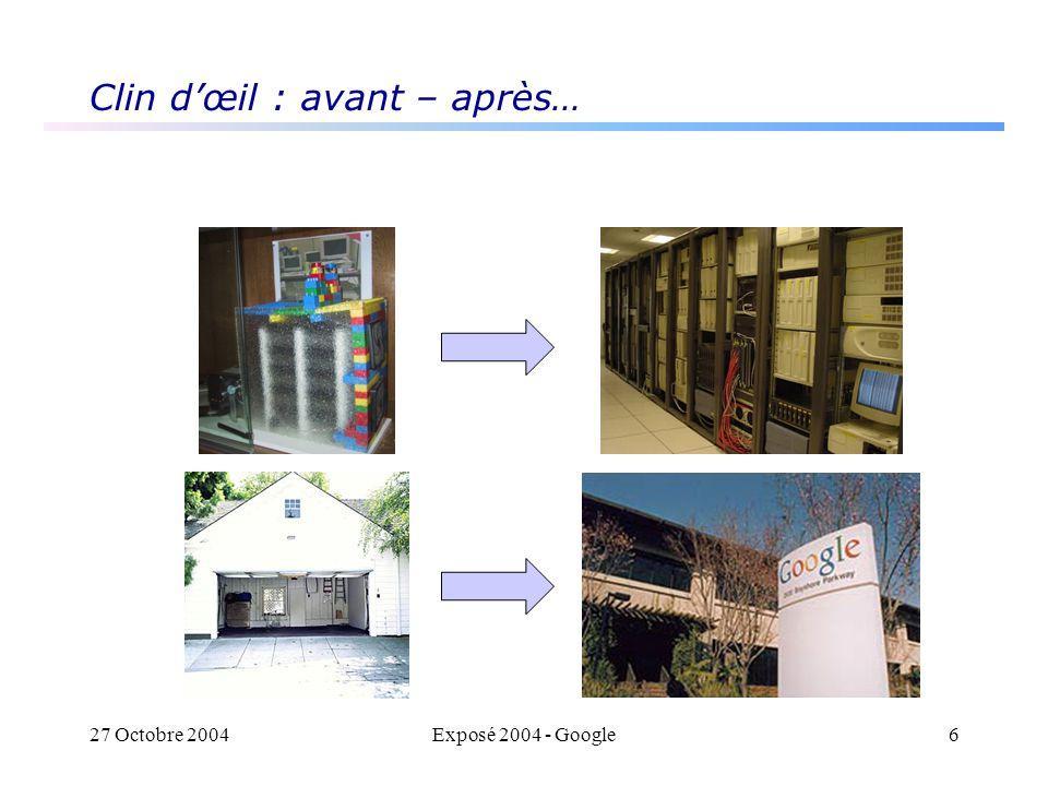27 Octobre 2004Exposé 2004 - Google6 Clin dœil : avant – après…