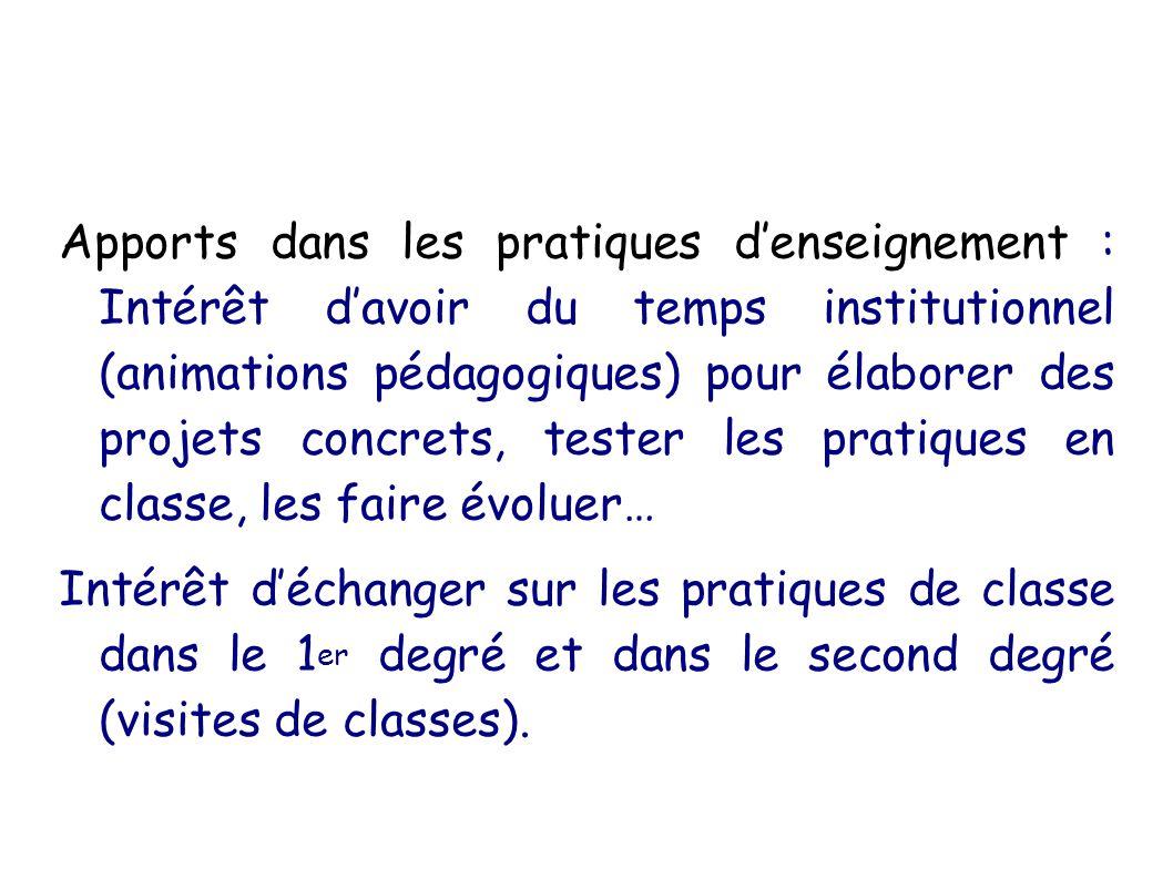 Apports dans les pratiques denseignement : Intérêt davoir du temps institutionnel (animations pédagogiques) pour élaborer des projets concrets, tester