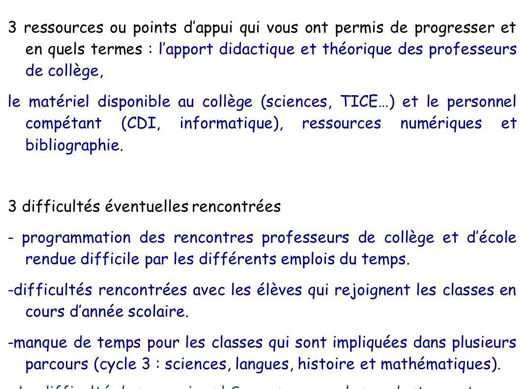 3 ressources ou points dappui qui vous ont permis de progresser et en quels termes : lapport didactique et théorique des professeurs de collège, le ma