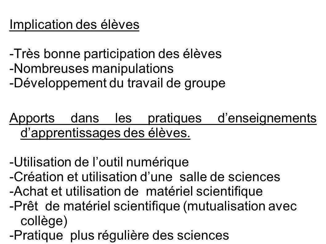 Implication des élèves -Très bonne participation des élèves -Nombreuses manipulations -Développement du travail de groupe Apports dans les pratiques d